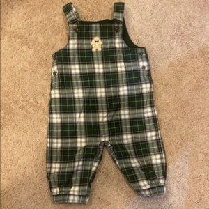 Janie and Jack plaid Christmas overalls